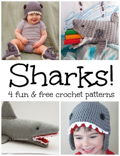 Sharks! 4 Fun and Free Crochet Patterns...