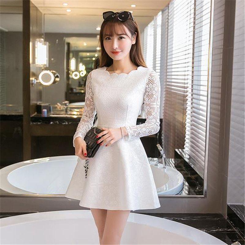 94a41a56a4ff1 Spring Summer Autumn Women Lace Casual Dress Long Sleeve Korean ...