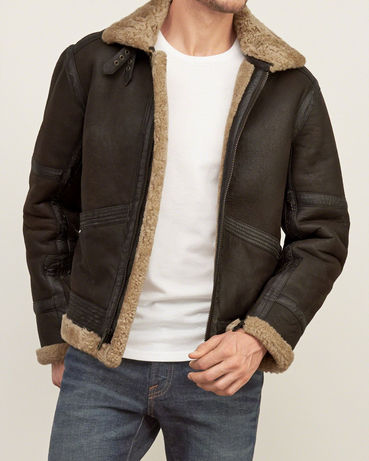 Mens Classic Shearling Jacket Mens Outerwear & Jackets