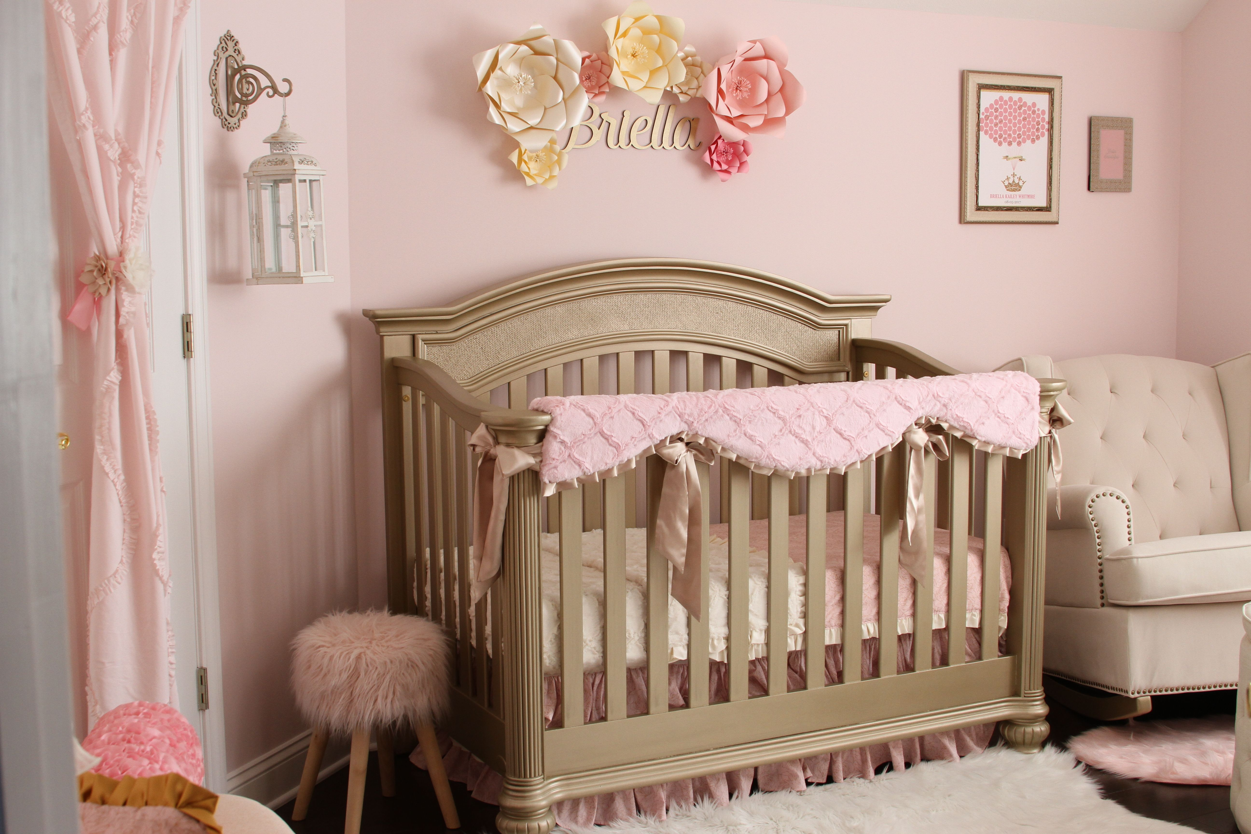 Soft Pink Gold And Ivory Shabby Chic Nursery Chic Baby Rooms Shabby Chic Baby Nursery Shabby Chic Baby Room