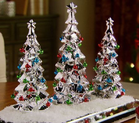 Set Of 3 Ceramic Trees With Bells By Valerie Qvc Com Christmas Centerpieces Valerie Parr Hill Christmas Decorations