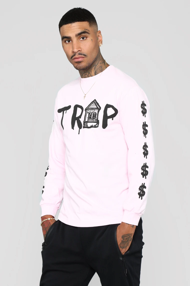 Trap House Tee Pink In 2020 Mens Fashion Sweaters House Tees Long Sleeve Tshirt Men