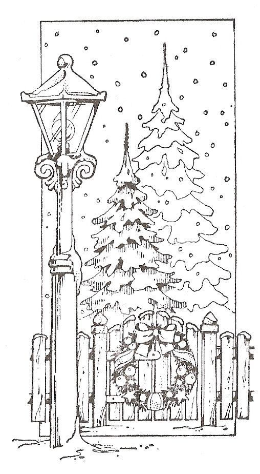Christmas Scene Drawing.Winter Scene I D Like To Give This Freebie A Try With My