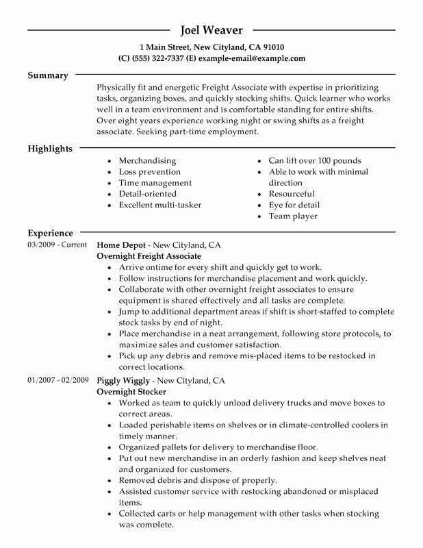 Stocker Job Description Resume Beautiful Part Time Overnight Freight Associates Resume Examples