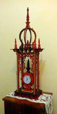 Oriental timepiece, scroll saw fretwork pattern