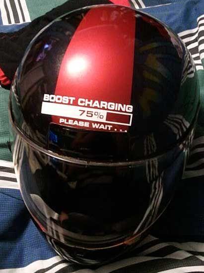 Phills Motorcycle Helmet With Boost Charging Please Wait - Motorcycle helmet decals graphics