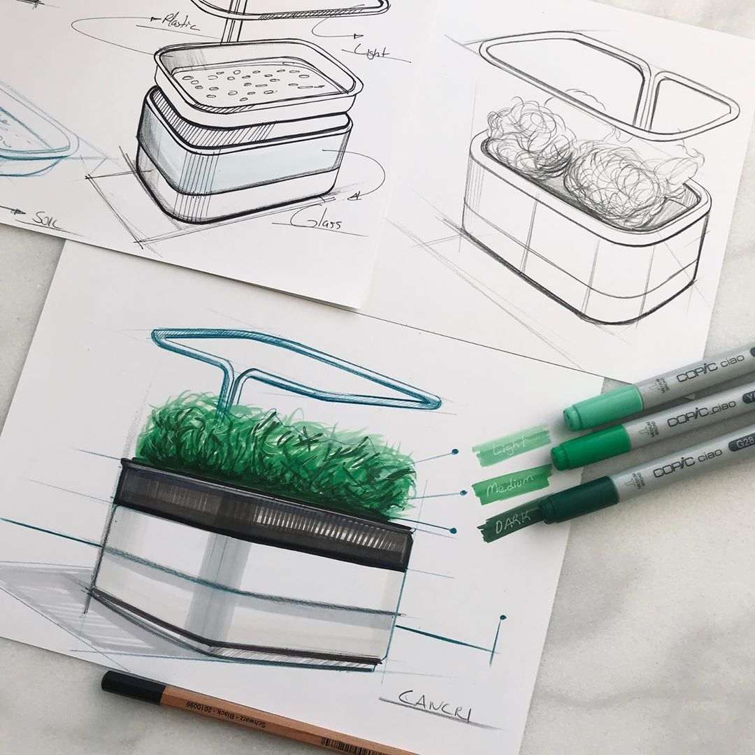 "Cancri Design on Instagram: ""Nouveau projet de pot hydroponique 🌱 ... . . #sketch #idsketch #industrialdesign #dailysketch #productdesign #diseño #designsketch…"""