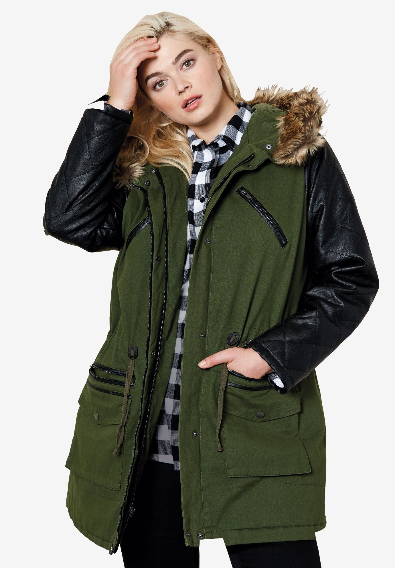 e5d9ec79aaf Quilted Faux Leather Sleeve Parka by ellos - Women s Plus Size Clothing