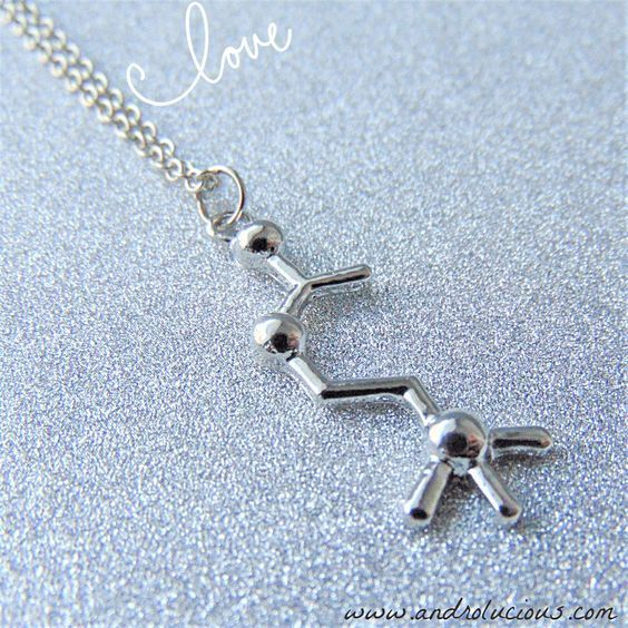 Silver Acetylcholine Molecule Pendant on Silver Chain Necklace Science Jewelry