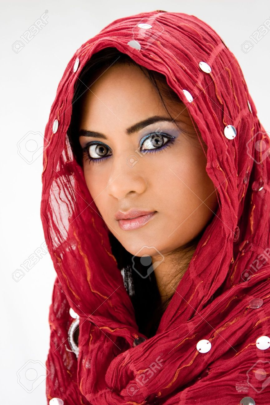 Beautiful Woman With Red Head Scarf, Isolated Stock Photo, Picture ...