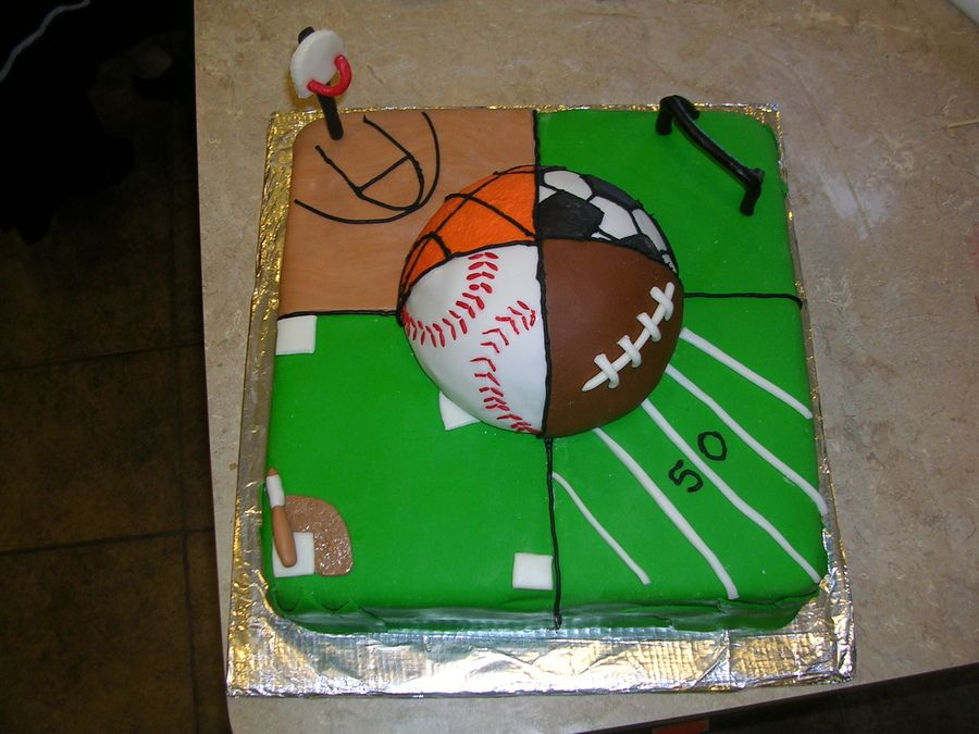 Remarkable All Sports Sports Birthday Cakes Sports Theme Birthday Funny Birthday Cards Online Elaedamsfinfo