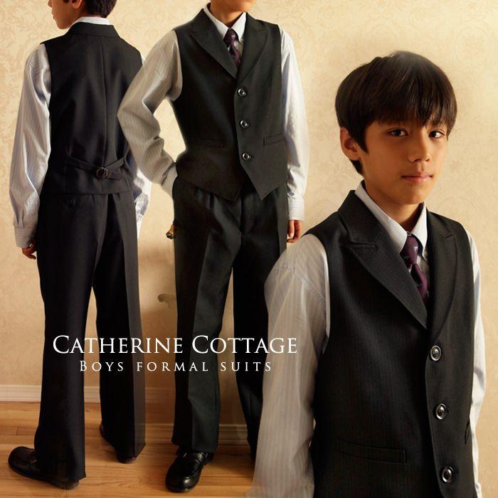 4bf50a0bf42fc 男の子スーツ  送料無料 衿付ベストスーツセット 男児 卒業式 フォーマルスーツ