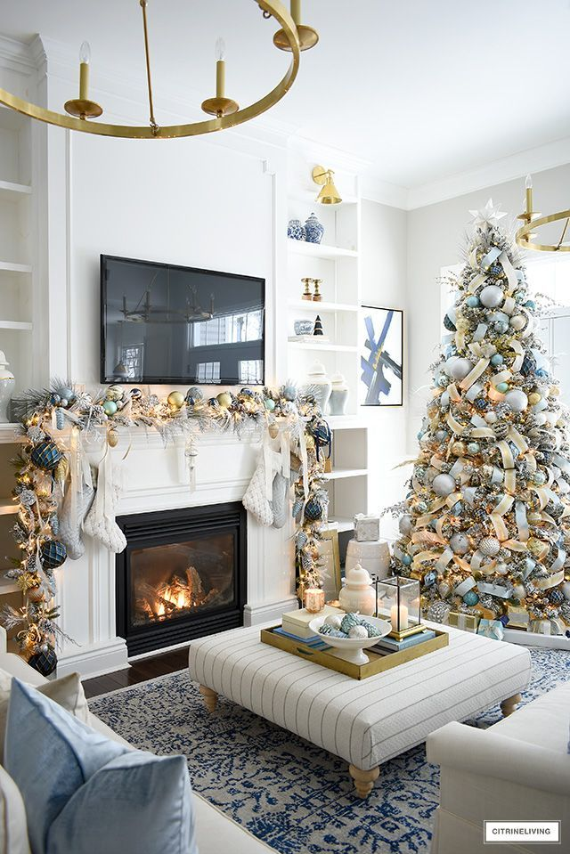 elegant christmas living room: soft blue + gold (with images) | christmas decorations living