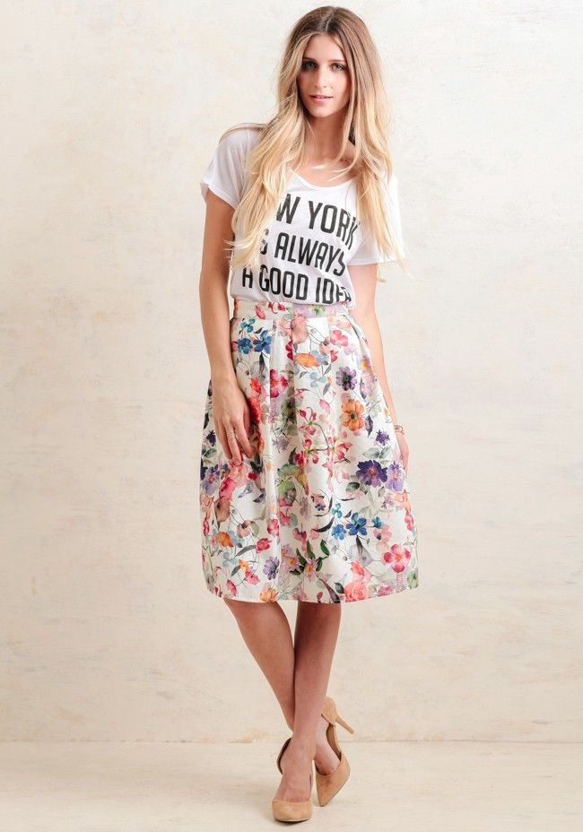 Beauty In Bloom Floral Midi Skirt; Beautiful floral print