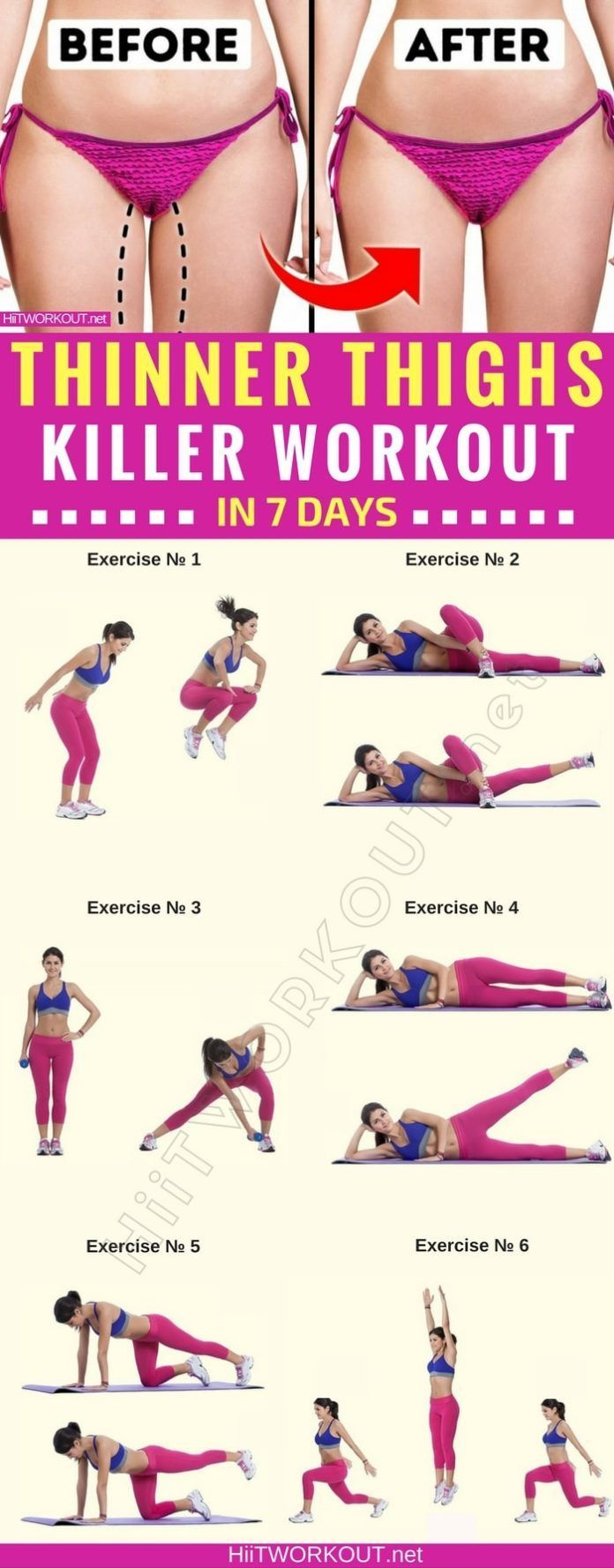 Fitness, Workout, Thigh exercises, Leg workout, Health fitness, Abs workout - How to get thinner thi...