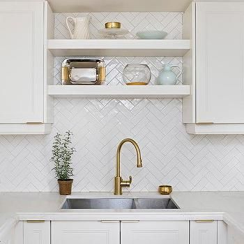 White Herringbone Backsplash Tiles In U Shaped Kitchen Herringbone Backsplash Kitchen Herringbone Tile Backsplash Herringbone Backsplash