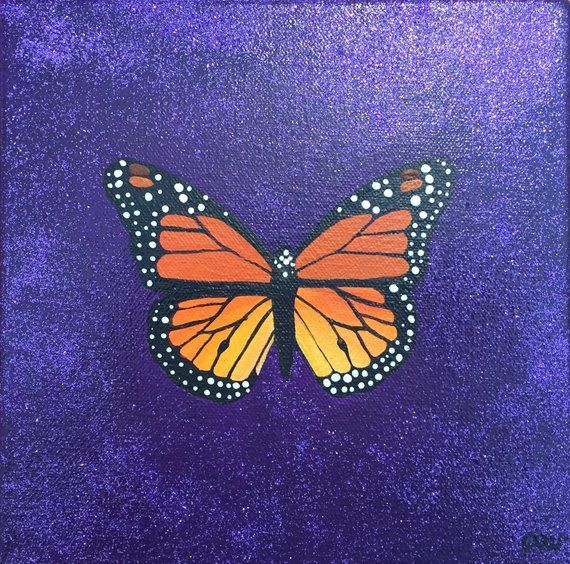 Butterfly Painting on Gallery Wrapped Canvas 8x8 Etsy in