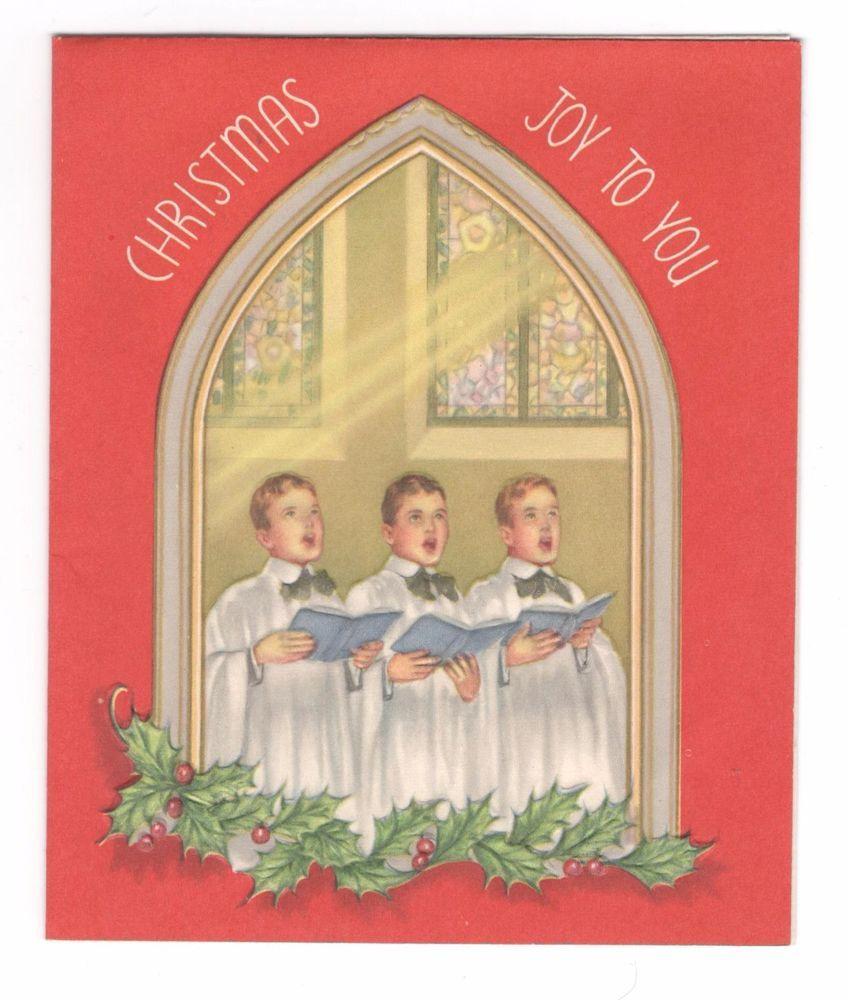 Vintage Christmas Greeting Card Church Choir Alta Boys Vintage