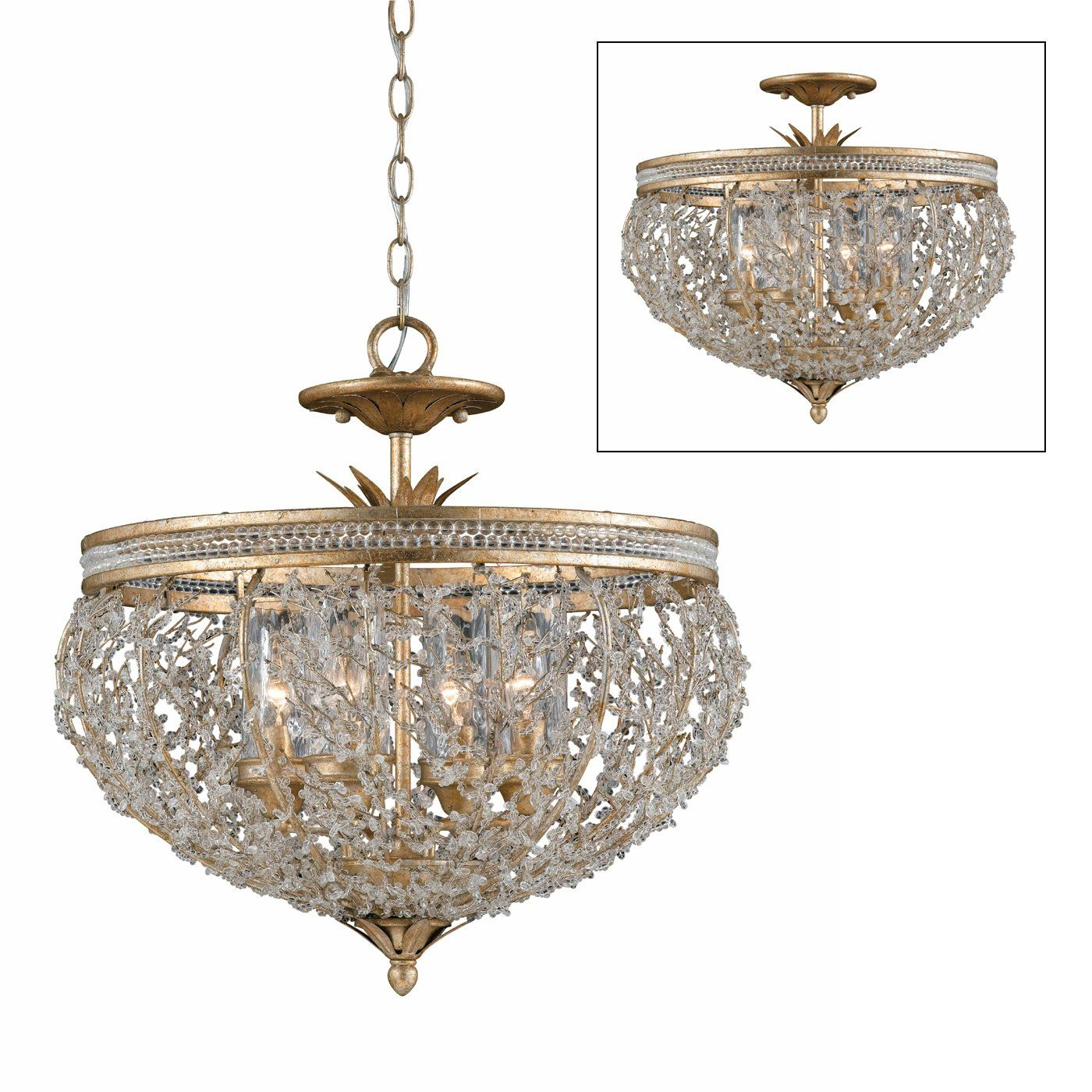 Triarch 29231 22 4 Light Garland Convertible Large Pendant Gold