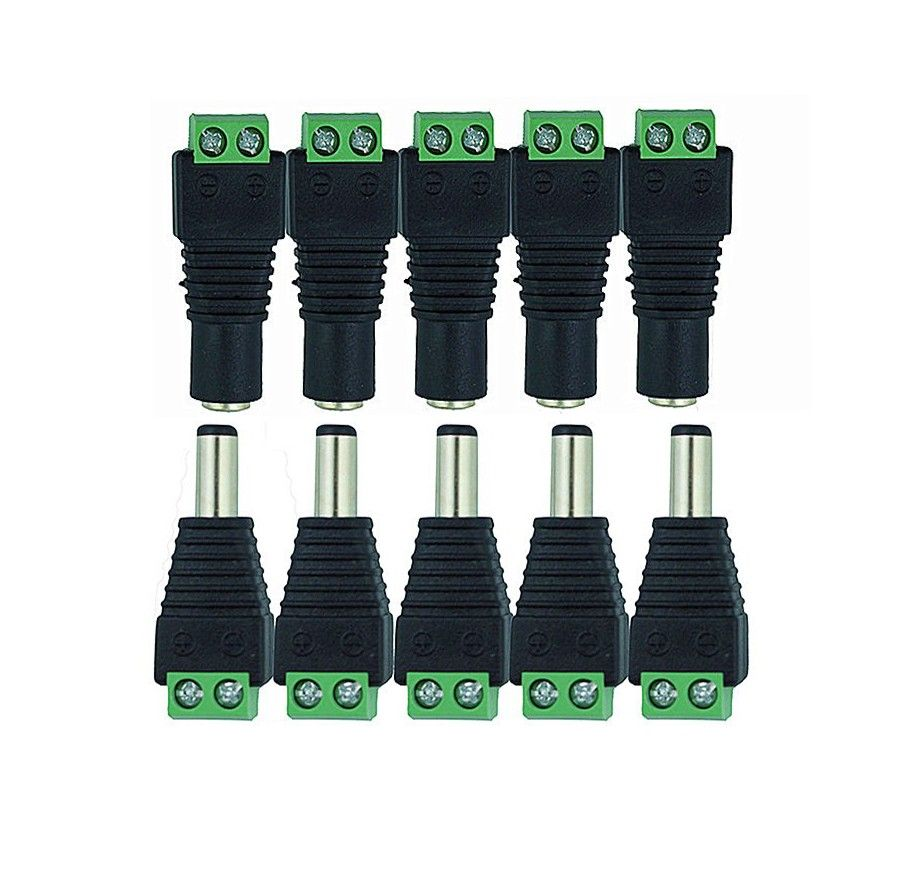 100pcs DC Power 2.1 x 5.5 mm Male Plug Cable Wire for Security Camera CCTV