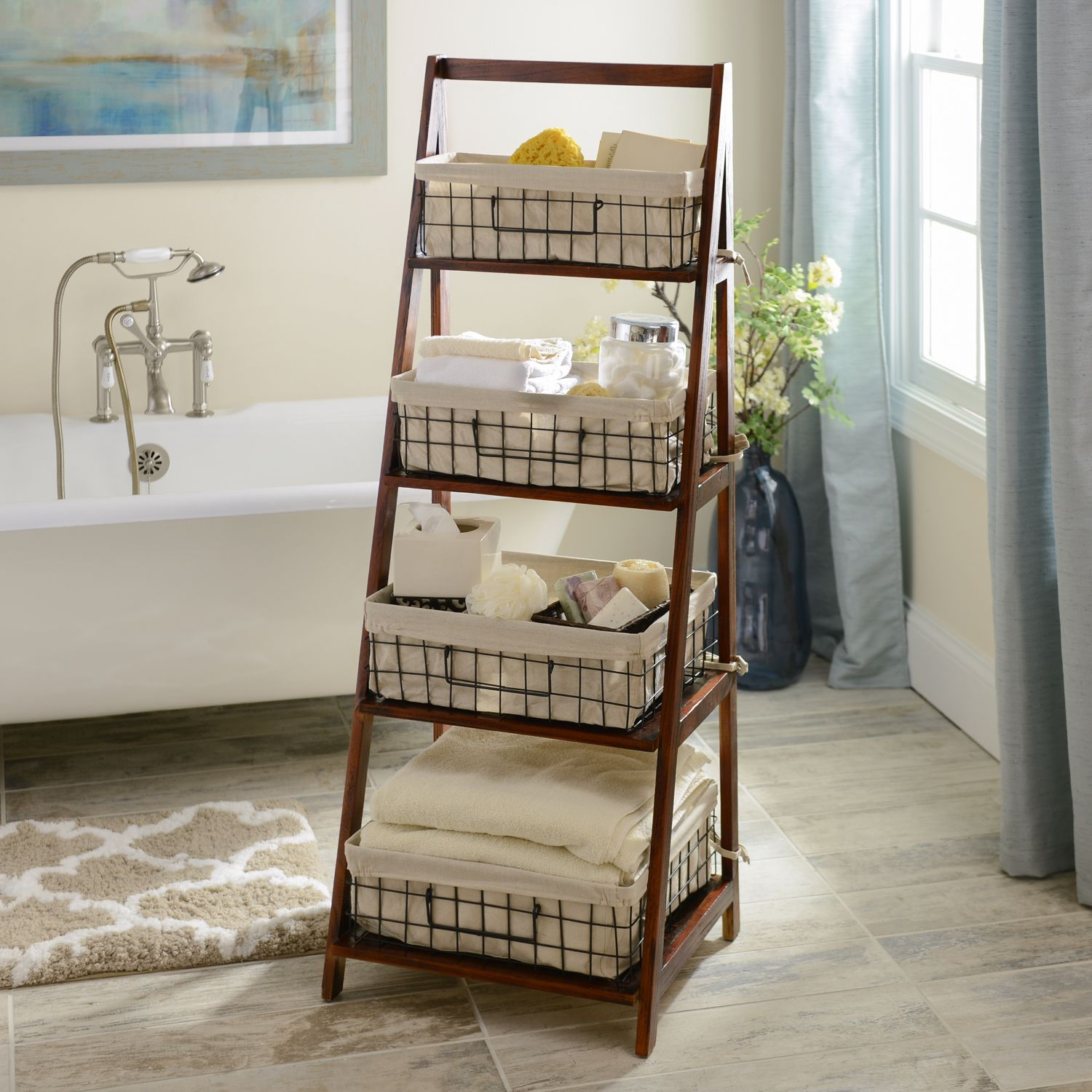Transform Your Bathroom Into A Spa Like Retreat With Our Brown Storage Basket Wooden Ladder Bathroom Basket Storage Bathroom Storage Ladder Wooden Ladder Shelf