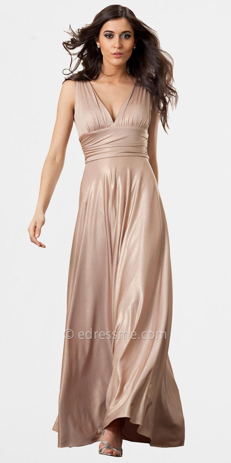 Gold vneckline evening dresses by js collection finalsale