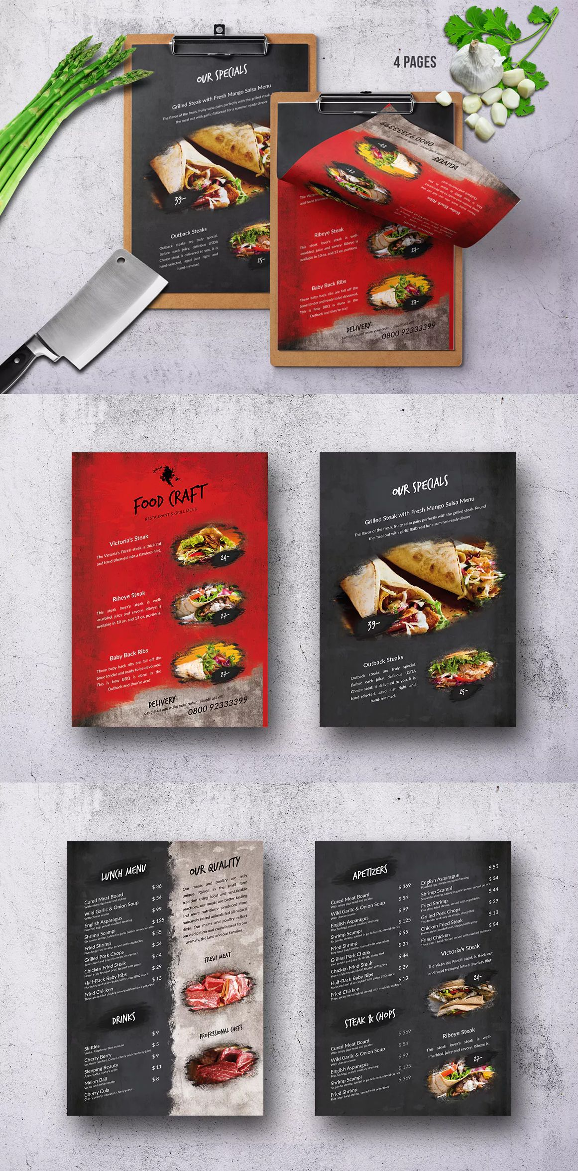 Craft Food Menu Single 4 Pages Psd A4 Us Letter Design Food