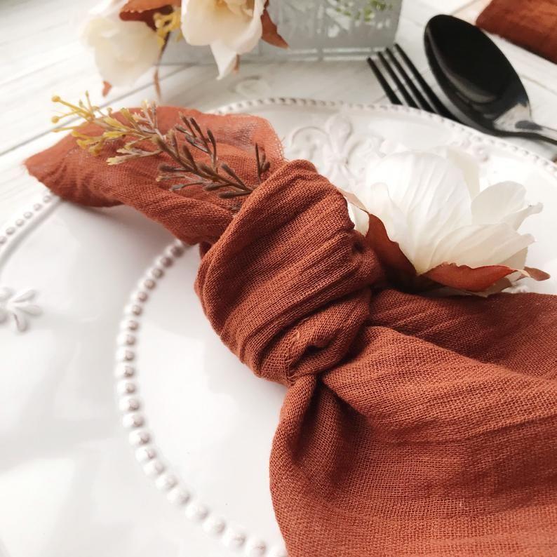 Cotton Napkins for Dinner Parties Wedding Boho Napkins Yellow Napkins Cheesecloth
