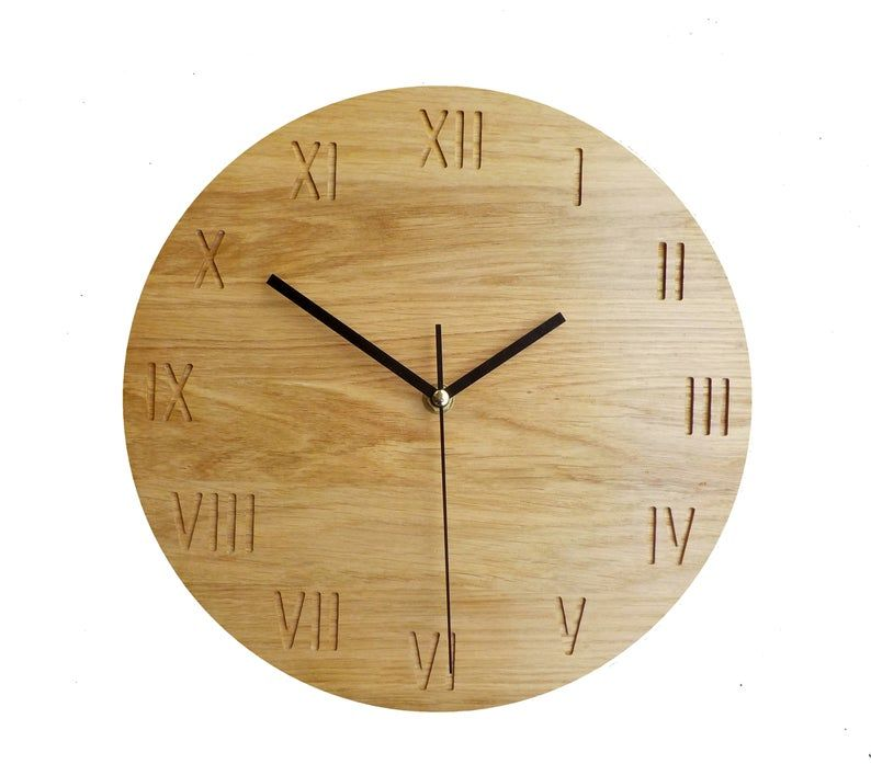 Warm Shade Oak Clock Roman Numbers Modern Clock 28cm 11 Wall Clock Wooden Wall Clock Modern Wall Clock Naturdeco Modern Clock Clock Wooden Walls