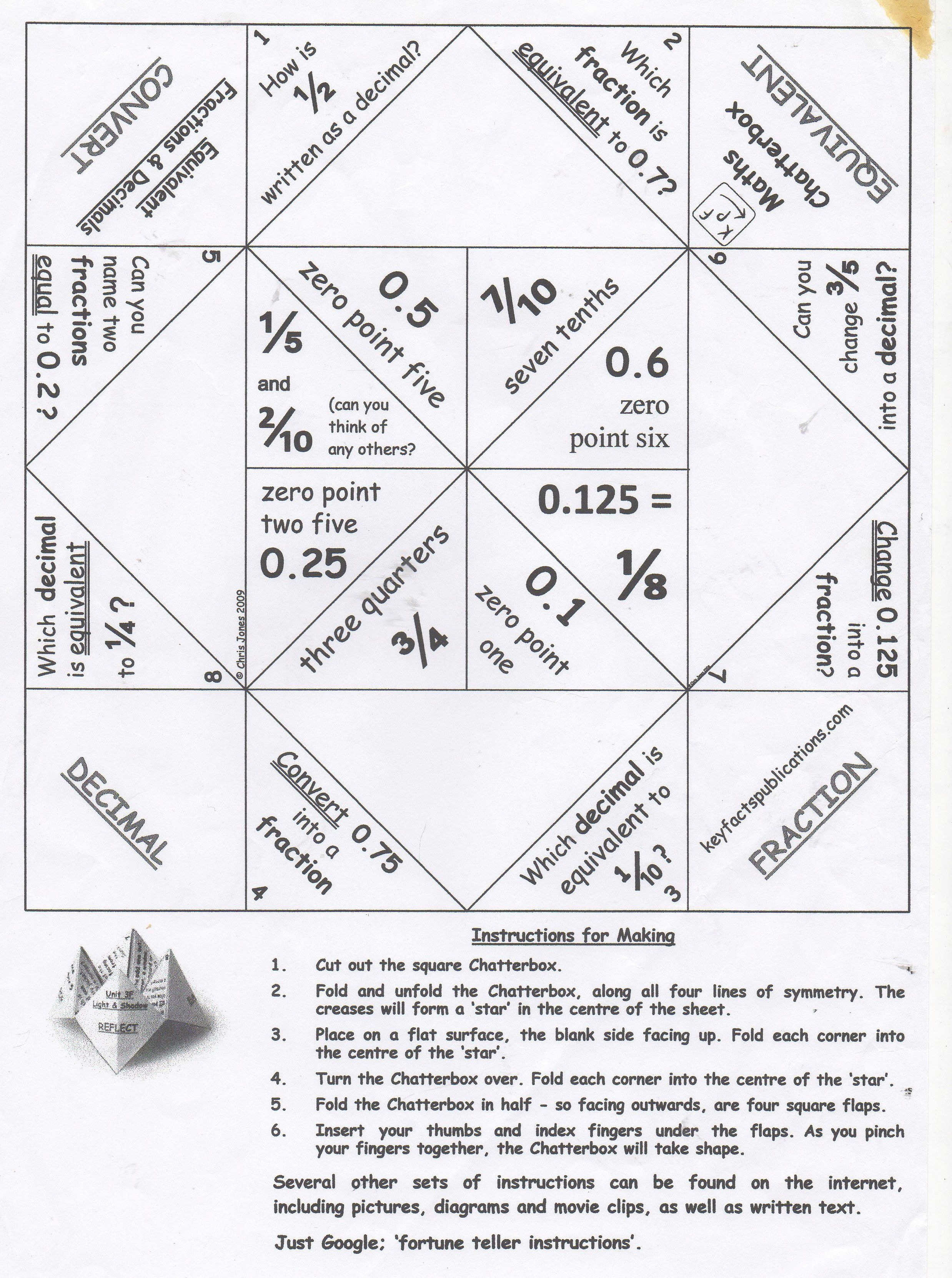 Chatterbox Fortune Teller For Fractions To Decimals