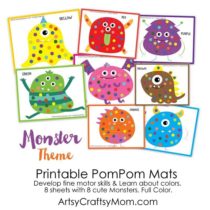 picture relating to Printable Mats identify Printable Monster Themed Pom Pom Mats Concept~Monsters Pom