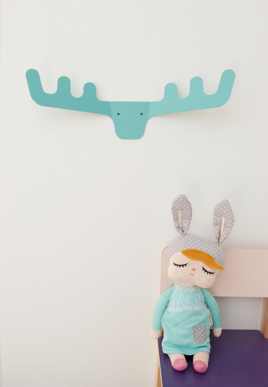 Kids Bedroom Hooks faux deer head / coat rack / modern coat hanger / wall decor