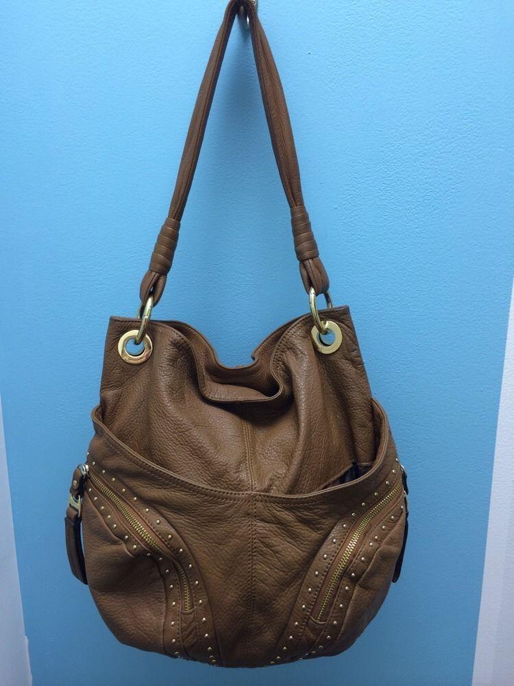 B Makowsky Brown Pebbled Leather Studded Hobo Handbag Large #BMakowsky #Hobo