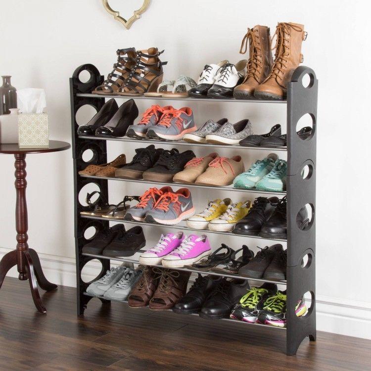Shoe Rack Organizer 6 Tier Closet Space Saver 24 Pair Black Plastic Silver Rails Everydayhome Stackable Shoe Rack Diy Shoe Rack Shoe Rack Organization