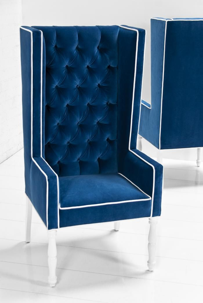 Modern Dining Room Chairs Blue ultra tall mod wing dining chair in royal blue velvet | furniture