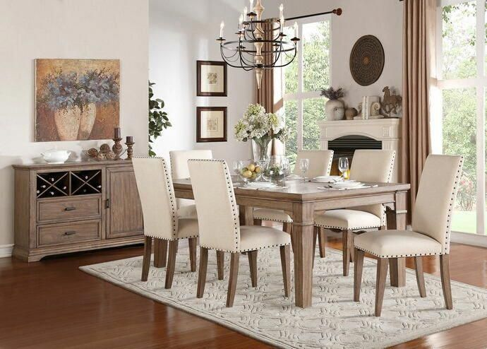7 pc mill valley weathered wash wood finish top dining table set rh pinterest com
