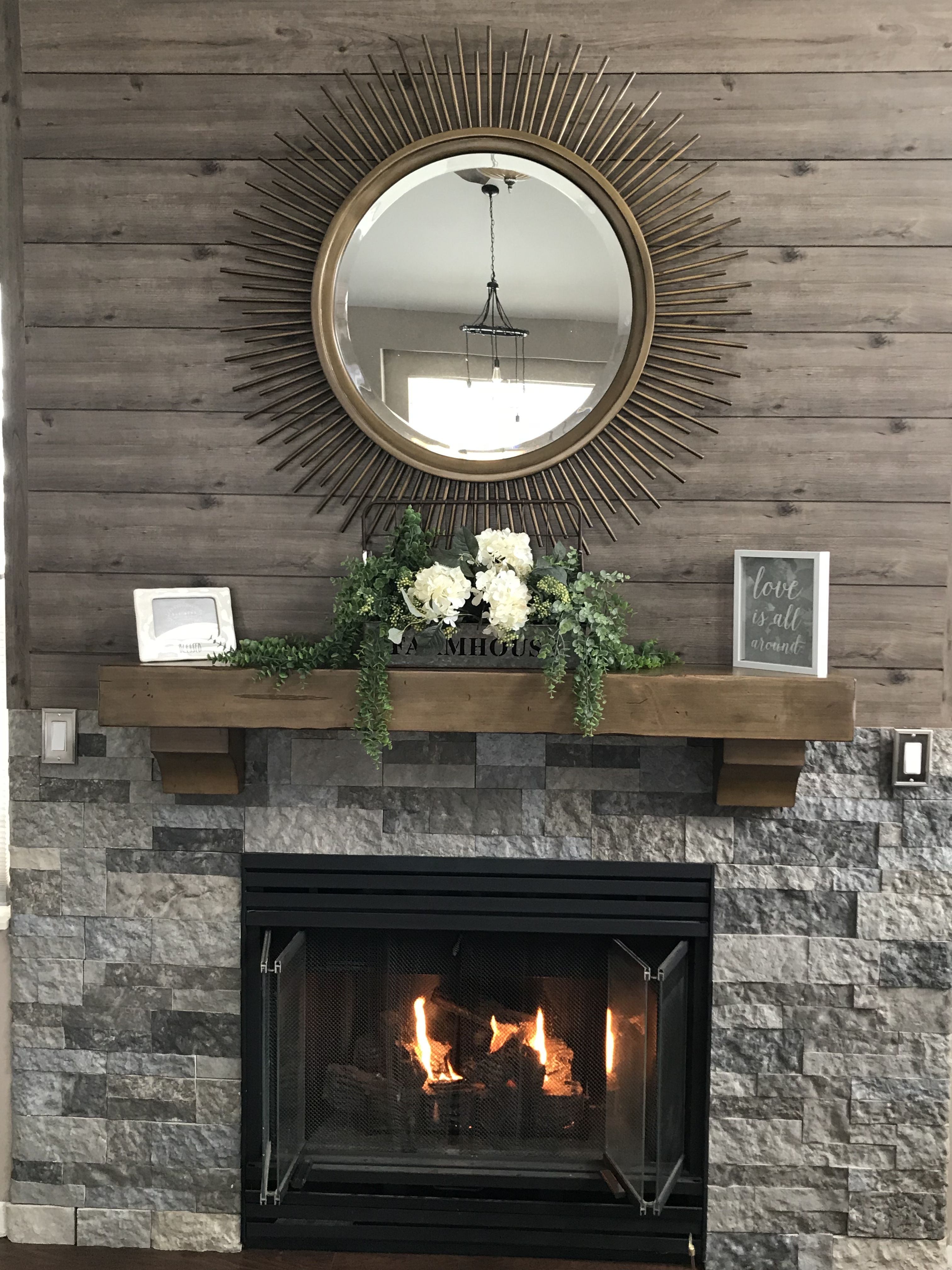 Air stone and shiplap fireplace complete! Shiplap