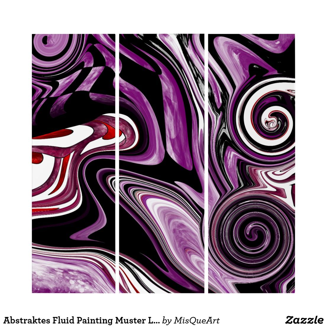 Abstraktes Fluid Painting Muster Lila Schwarz Triptychon