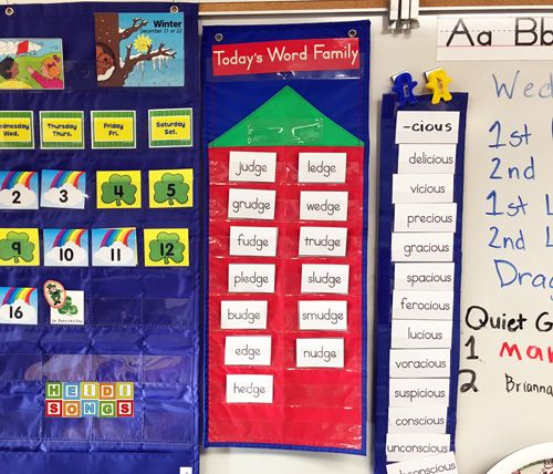 calendar phonics word family of the day charts