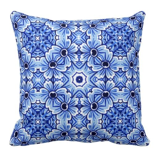Chic Delft Blue Floral Design. Pretty and trendy throw pillow. Beautiful and elegant customary ...