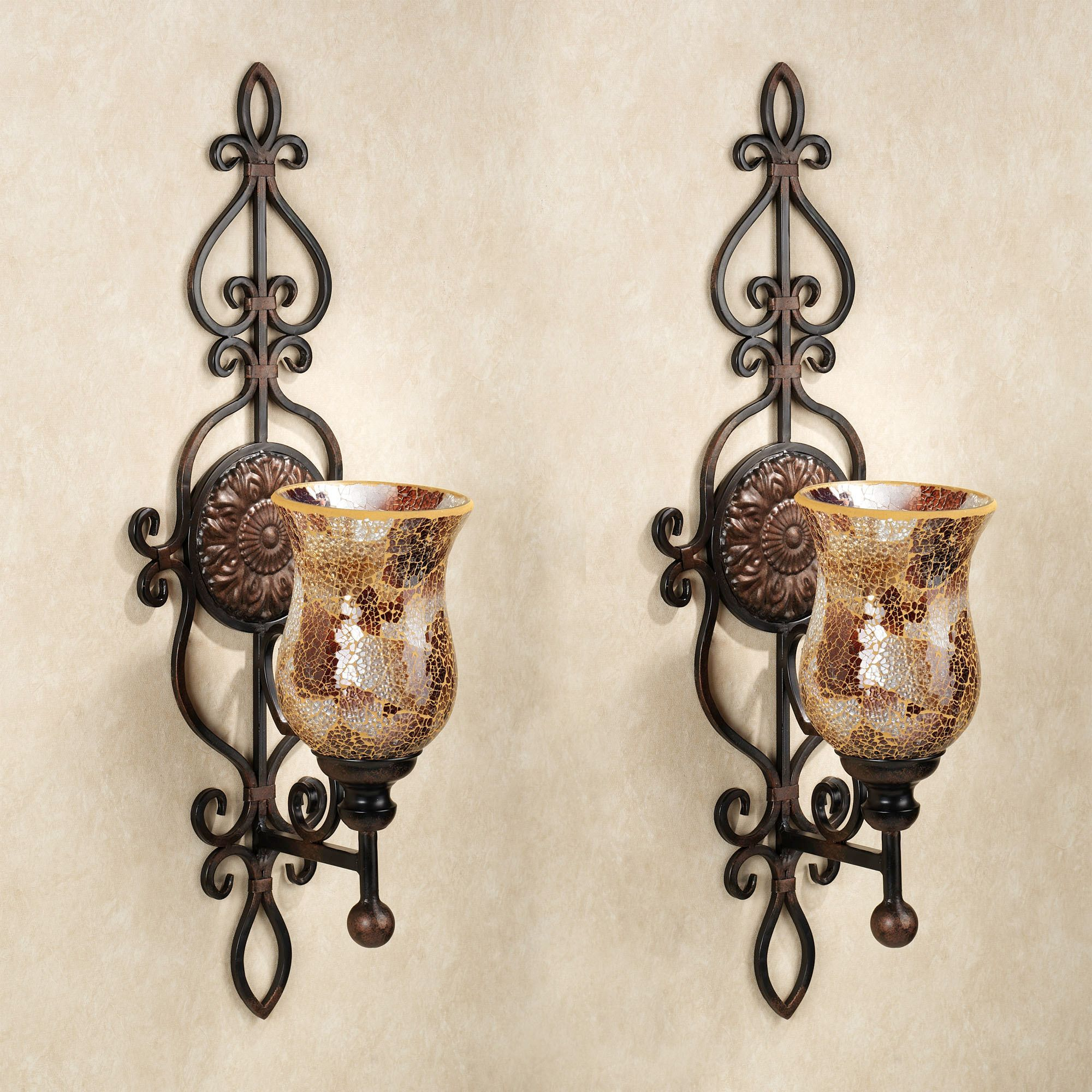 Leyanna mosaic aged brown wall sconce pair wall sconces leyanna mosaic aged brown wall sconce pair amipublicfo Gallery