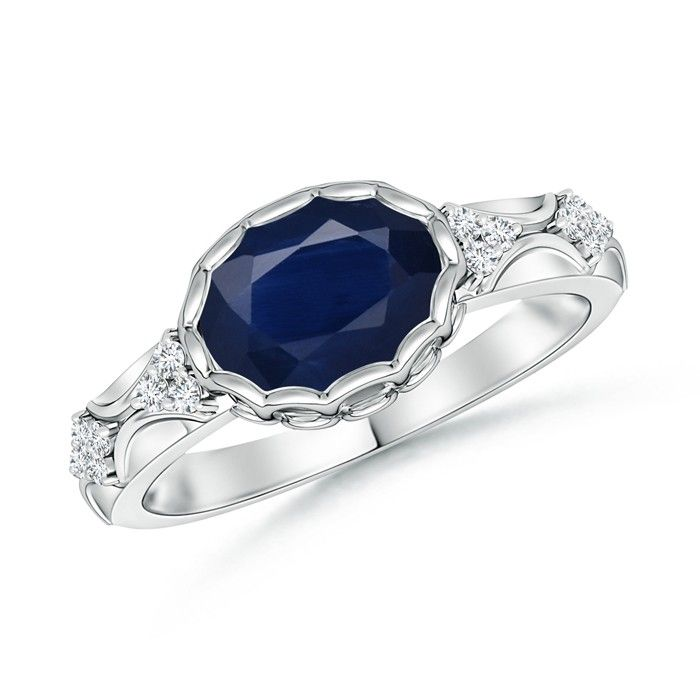 Angara Vintage Sapphire Engagement Ring in Platinum