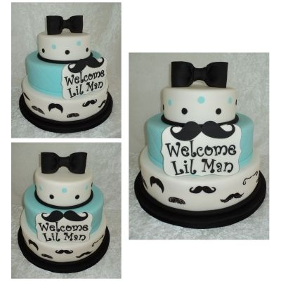 Lil ManMustache Cake By PattyCakes10 on CakeCentralcom