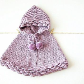 Alpaca Baby Poncho / Lilac Knit Girl Cape / Hand Knit Toddler Sweater /  Hooded Cape