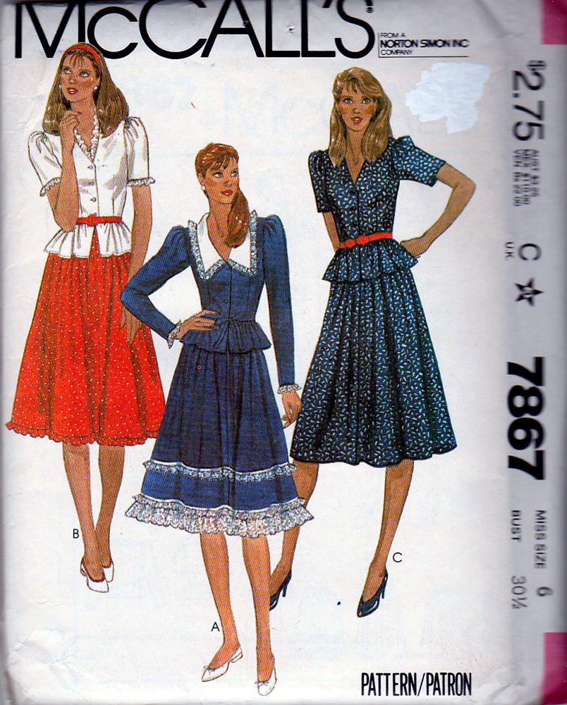 McCalls 7867 ©1982 Western Style Peplum Top and Gathered Skirt, Size ...