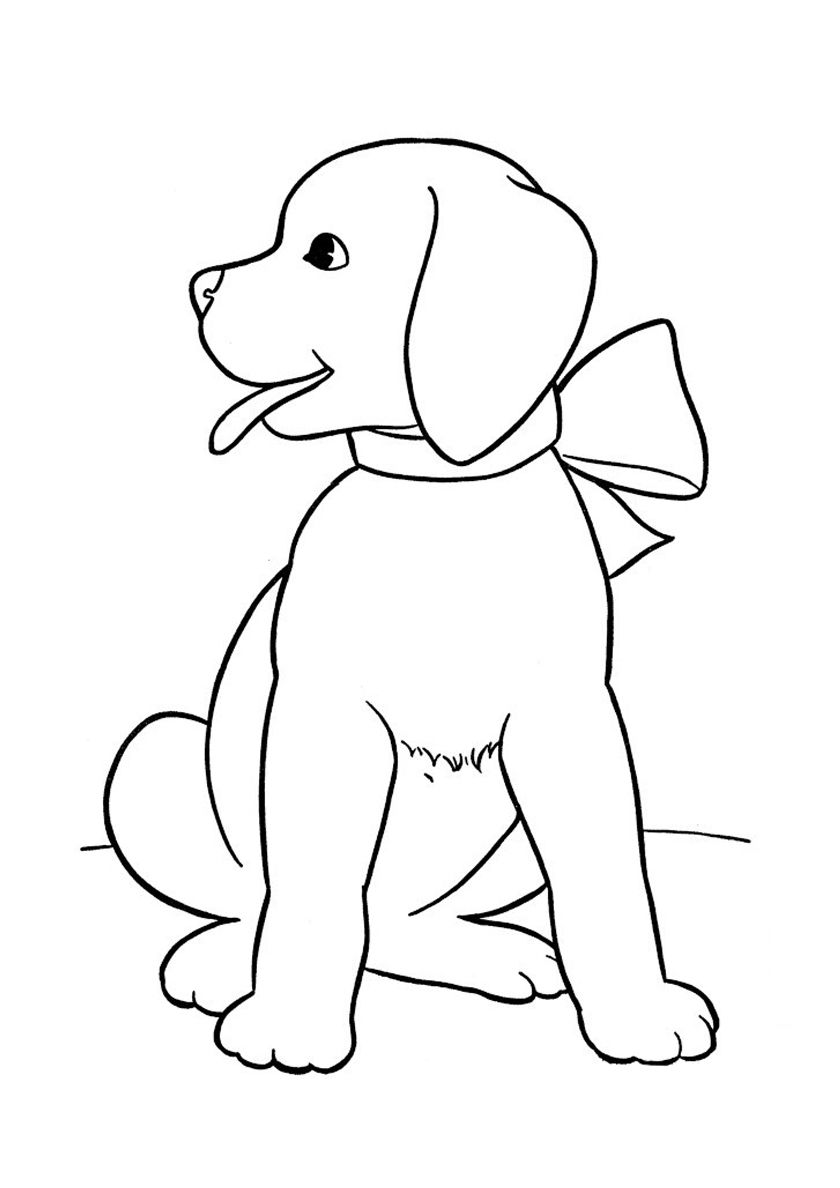 Pretty Labrador Retriever Wearing Neck Bow High Quality Free Coloring Page From The Category Dogs And Puppi Dog Drawing Simple Dog Drawing Dog Coloring Page