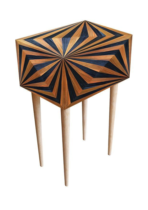 Lovely OpArt Bedside Cabinet   Violeta Galan Straw Marquetry Design Ideas