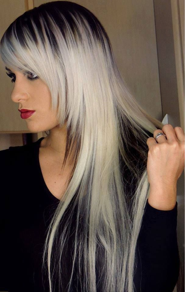 white and black and grey hair ombre