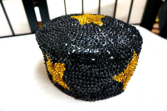 BLACK HAT SKULL Cap Vintage 1970's black sequins with gold stars new condition unisex adult