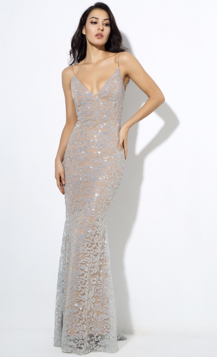 f6dbb18c173 Sweet Delight Silver Glitter Plunge Maxi Gown Dress in 2019 ...
